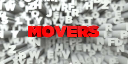 movers: MOVERS -  Red text on typography background - 3D rendered royalty free stock image. This image can be used for an online website banner ad or a print postcard.