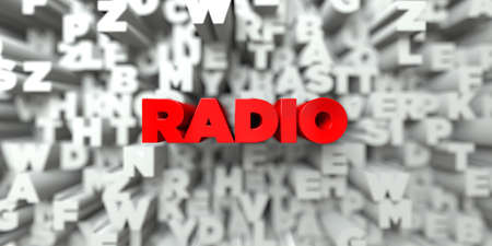 RADIO -  Red text on typography background - 3D rendered royalty free stock image. This image can be used for an online website banner ad or a print postcard.