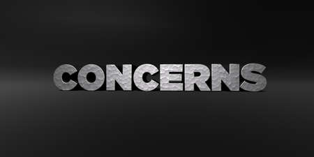 concerns: CONCERNS - hammered metal finish text on black studio - 3D rendered royalty free stock photo. This image can be used for an online website banner ad or a print postcard.