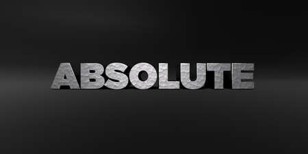 absolute: ABSOLUTE - hammered metal finish text on black studio - 3D rendered royalty free stock photo. This image can be used for an online website banner ad or a print postcard.