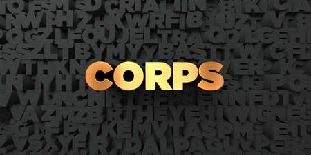 corps: Corps - Gold text on black background - 3D rendered royalty free stock picture. This image can be used for an online website banner ad or a print postcard.