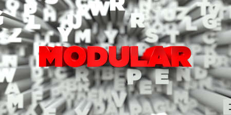 MODULAR -  Red text on typography background - 3D rendered royalty free stock image. This image can be used for an online website banner ad or a print postcard.