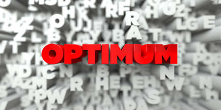 optimum: OPTIMUM -  Red text on typography background - 3D rendered royalty free stock image. This image can be used for an online website banner ad or a print postcard.