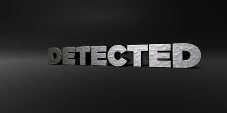 royalty free photo: DETECTED - hammered metal finish text on black studio - 3D rendered royalty free stock photo. This image can be used for an online website banner ad or a print postcard.