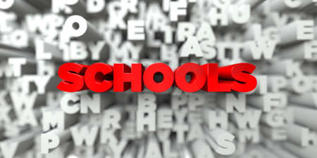 free stock: SCHOOLS -  Red text on typography background - 3D rendered royalty free stock image. This image can be used for an online website banner ad or a print postcard.