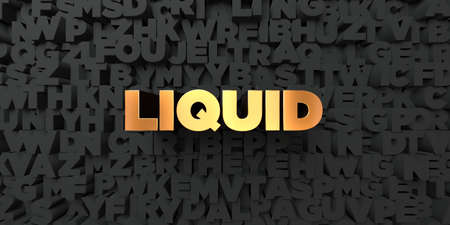 liquid gold: Liquid - Gold text on black background - 3D rendered royalty free stock picture. This image can be used for an online website banner ad or a print postcard. Stock Photo