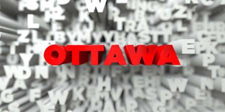 OTTAWA -  Red text on typography background - 3D rendered royalty free stock image. This image can be used for an online website banner ad or a print postcard.