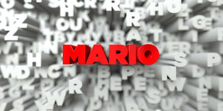 MARIO -  Red text on typography background - 3D rendered royalty free stock image. This image can be used for an online website banner ad or a print postcard.