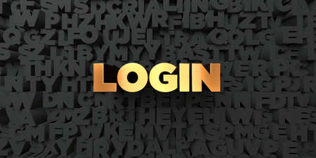 Login - Gold text on black background - 3D rendered royalty free stock picture. This image can be used for an online website banner ad or a print postcard.