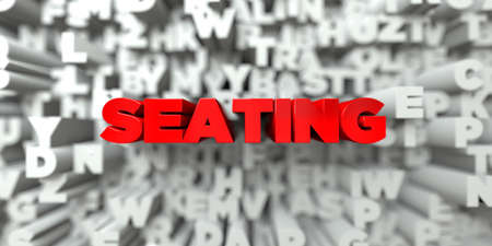 seating: SEATING -  Red text on typography background - 3D rendered royalty free stock image. This image can be used for an online website banner ad or a print postcard. Stock Photo
