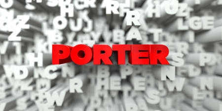 royalty: PORTER -  Red text on typography background - 3D rendered royalty free stock image. This image can be used for an online website banner ad or a print postcard.