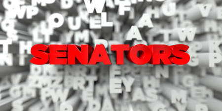 senators: SENATORS -  Red text on typography background - 3D rendered royalty free stock image. This image can be used for an online website banner ad or a print postcard.
