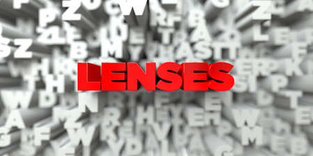 royalty: LENSES -  Red text on typography background - 3D rendered royalty free stock image. This image can be used for an online website banner ad or a print postcard.