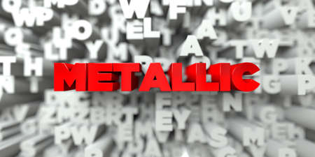 METALLIC -  Red text on typography background - 3D rendered royalty free stock image. This image can be used for an online website banner ad or a print postcard.