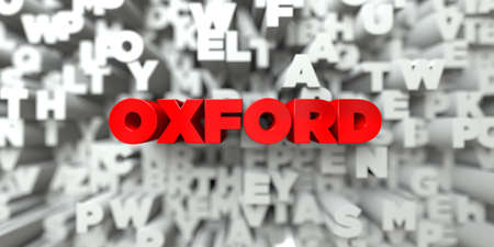 Oxford -  Red text on typography background - 3D rendered royalty free stock image. This image can be used for an online website banner ad or a print postcard. Stock Photo