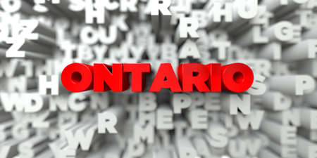 ONTARIO -  Red text on typography background - 3D rendered royalty free stock image. This image can be used for an online website banner ad or a print postcard.
