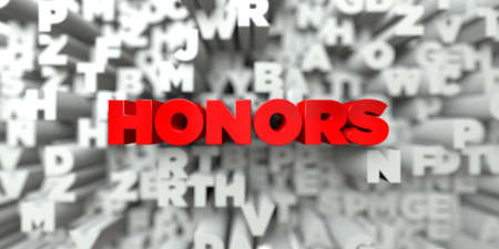 honors: HONORS -  Red text on typography background - 3D rendered royalty free stock image. This image can be used for an online website banner ad or a print postcard.