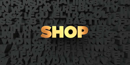 Shop - Gold text on black background - 3D rendered royalty free stock picture. This image can be used for an online website banner ad or a print postcard.