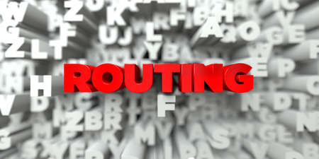 routing: ROUTING -  Red text on typography background - 3D rendered royalty free stock image. This image can be used for an online website banner ad or a print postcard.