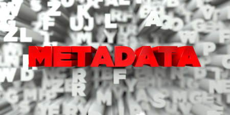 metadata: METADATA -  Red text on typography background - 3D rendered royalty free stock image. This image can be used for an online website banner ad or a print postcard.