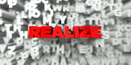 realize: REALIZE -  Red text on typography background - 3D rendered royalty free stock image. This image can be used for an online website banner ad or a print postcard. Stock Photo