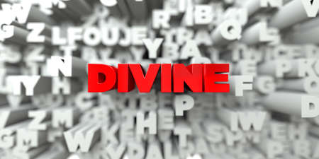 DIVINE -  Red text on typography background - 3D rendered royalty free stock image. This image can be used for an online website banner ad or a print postcard. Stock Photo