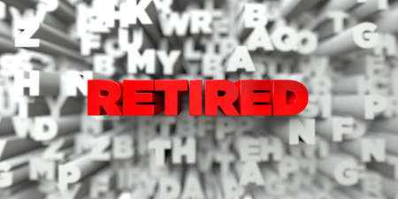 RETIRED -  Red text on typography background - 3D rendered royalty free stock image. This image can be used for an online website banner ad or a print postcard.