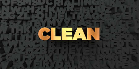 Clean - Gold text on black background - 3D rendered royalty free stock picture. This image can be used for an online website banner ad or a print postcard.