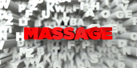 free stock: MASSAGE -  Red text on typography background - 3D rendered royalty free stock image. This image can be used for an online website banner ad or a print postcard. Stock Photo