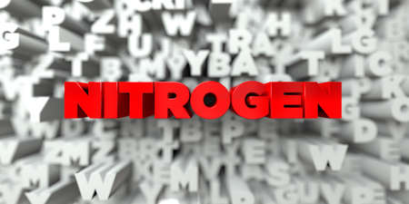 3d nitrogen: NITROGEN -  Red text on typography background - 3D rendered royalty free stock image. This image can be used for an online website banner ad or a print postcard.