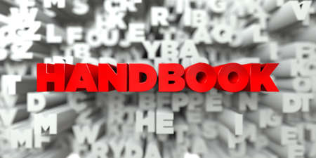 handbook: HANDBOOK -  Red text on typography background - 3D rendered royalty free stock image. This image can be used for an online website banner ad or a print postcard.