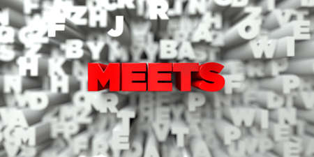 MEETS -  Red text on typography background - 3D rendered royalty free stock image. This image can be used for an online website banner ad or a print postcard. Stock Photo