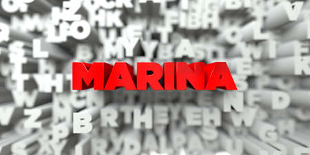 MARINA -  Red text on typography background - 3D rendered royalty free stock image. This image can be used for an online website banner ad or a print postcard. Imagens