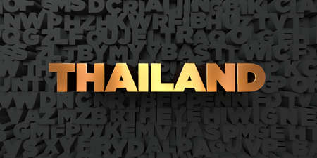 Thailand - Gold text on black background - 3D rendered royalty free stock picture. This image can be used for an online website banner ad or a print postcard. Stock Photo