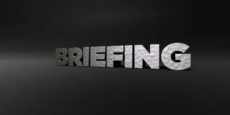 BRIEFING - hammered metal finish text on black studio - 3D rendered royalty free stock photo. This image can be used for an online website banner ad or a print postcard. Stock Photo