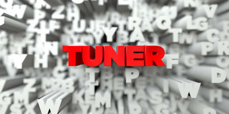 tuner: TUNER -  Red text on typography background - 3D rendered royalty free stock image. This image can be used for an online website banner ad or a print postcard.