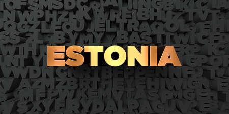 エストニア - 黒地にゴールド テキスト - 3 D レンダリングされたロイヤリティ フリー ストック画像。この画像は、オンラインの web サイトのバナー 写真素材