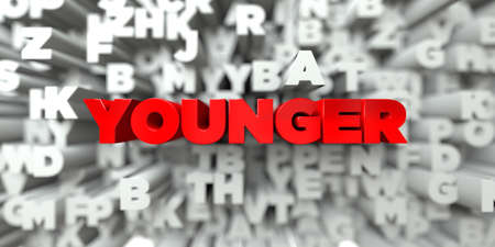 younger: YOUNGER -  Red text on typography background - 3D rendered royalty free stock image. This image can be used for an online website banner ad or a print postcard. Stock Photo