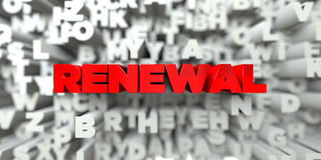 renewal: RENEWAL -  Red text on typography background - 3D rendered royalty free stock image. This image can be used for an online website banner ad or a print postcard. Stock Photo