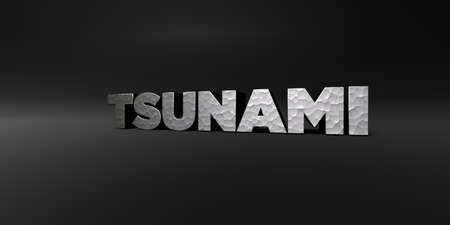 TSUNAMI - hammered metal finish text on black studio - 3D rendered royalty free stock photo. This image can be used for an online website banner ad or a print postcard.