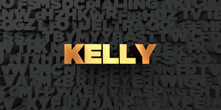 kelly: Kelly - Gold text on black background - 3D rendered royalty free stock picture. This image can be used for an online website banner ad or a print postcard.