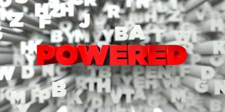 powered: POWERED -  Red text on typography background - 3D rendered royalty free stock image. This image can be used for an online website banner ad or a print postcard. Stock Photo