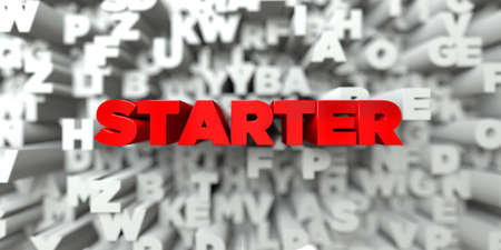 starter: STARTER -  Red text on typography background - 3D rendered royalty free stock image. This image can be used for an online website banner ad or a print postcard.