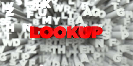 lookup: LOOKUP -  Red text on typography background - 3D rendered royalty free stock image. This image can be used for an online website banner ad or a print postcard. Stock Photo