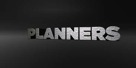planners: PLANNERS - hammered metal finish text on black studio - 3D rendered royalty free stock photo. This image can be used for an online website banner ad or a print postcard.