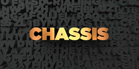 chassis: Chassis - Gold text on black background - 3D rendered royalty free stock picture. This image can be used for an online website banner ad or a print postcard.