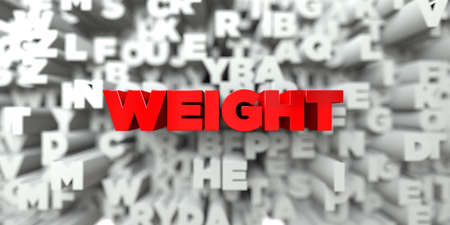free stock: WEIGHT -  Red text on typography background - 3D rendered royalty free stock image. This image can be used for an online website banner ad or a print postcard.