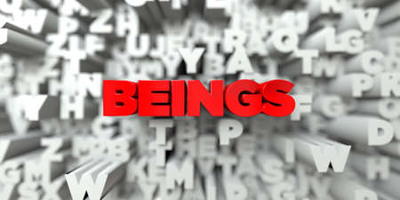 beings: BEINGS -  Red text on typography background - 3D rendered royalty free stock image. This image can be used for an online website banner ad or a print postcard.