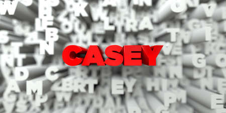 CASEY -  Red text on typography background - 3D rendered royalty free stock image. This image can be used for an online website banner ad or a print postcard.