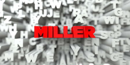 the miller: MILLER -  Red text on typography background - 3D rendered royalty free stock image. This image can be used for an online website banner ad or a print postcard.